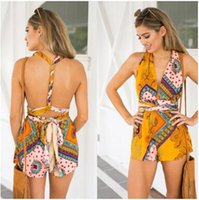 Wholesale Elegant Shorts Rompers - Sexy halter bandage jumpsuits floral print Playsuits elegant jumpsuits rompers 2017 Summer Bohemian Style beach short playsuit Women overall
