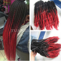 Wholesale ombre kinky braiding hair resale online - High quality inch ombre synthetic marley braids two tone black red kinky twist braiding hair