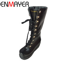 Wholesale Gothic Wedges - Wholesale-ENMAYER Free Shipping New Gothic Punk Shoes Cosplay Boots Sexy High Heels Platform Zip Winter Wedges Knee High Boots White Shoes