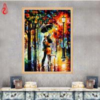 Wholesale Lovers Oils Canvas - YGS-221 DIY 5D Diamond Embroidery Romantic Rain Lovers Round Diamond Painting Cross Stitch Kit Mosaic Painting Home Decoration