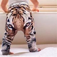pantalones flojos chicos al por mayor-Pantalones de Baby Boy Pantalones de bebé para bebés Pantalones Harem 3D Tiger para niños Pantalones de pantalones para niños Pantalones para niños pequeños Pantalones de chándal Pantalones deportivos