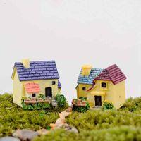 Wholesale miniature fairy garden houses for sale - Group buy Cute Mini Europeanstyle Villa Miniature House Fairy Garden Micro Landscape Moss Bottle Decoration Material Resin Craft styles Color Random