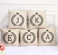 Wholesale Z Home - A-Z 26 English Letter Alphabet Pillow Case Cushion Cover Linen Cotton Throw Pillowcases Sofa Car Pillowcover 45*45cm KKA2265