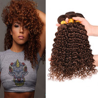 Wholesale 8A Indian Deep Wave Virgin Human Hair Bundles Color Light Chestnut Brown Deep Curly Hair Weaves Extensions