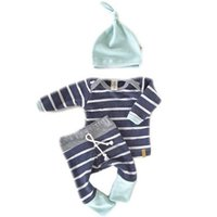 Wholesale Yellow Striped Tights - Cute Spring Summer Toddles 3pcs Set Baby Boys Girls Striped Pattern Outfits Sets T-shirts Tops + Tights Pants + Hat Cotton Suits A5970