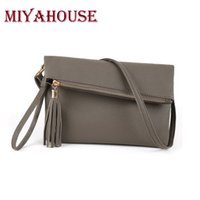 Vente en gros- Miyahouse Mode Femme Sac Messenger en cuir Tassel Fold Cover Sling Girl Shoulder Crossbody Bag Brand Envelope Bag Ladies