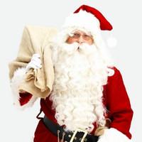 adorno grande al por mayor-ZF Santa Cosplay Pelucas Big Beard Traje de Navidad Familia Pijamas Blanco Sintético Decoraciones de Halloween Adornos de Fiesta