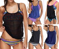 Wholesale Women Green Tankini Swimsuit - 2017 Sexy Women Tankini with short Two-pieces Sports Swimsuits GYM Contrast Color Plus Size Bathing suits Swimwear Push up Mesh Patchwork