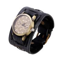Wholesale Vintage Punk Watch - 2017 Luxury Vintage Men Leather Bracelet Watches Relogio Masculino Quartz Watch Fashion Casual Sport Clock Punk Men Wristwatches