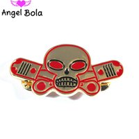 broches d'aile achat en gros de-New Fashion Skeleton Brooch Motocyclette moto Hells Wing Angels Pins Homme Party Rock Gift Livraison gratuite