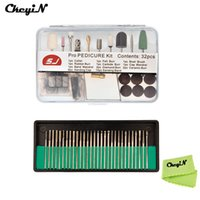 Wholesale Electric Nail Drill For Pro - Wholesale- CkeyiN Pro 32Pcs Manicure Pedicure Tool Set Kit+30Pcs Nail Drill Bits Polish Grinding Head For Electric Nail Drilling Machine
