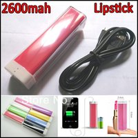 Wholesale Iphone Battery Size - Mini Pocket 2600mah Power Bank Lipstick Sized External Battery Charger Power Supplier Powerbanks for iPhone Samsung Tablet MP4