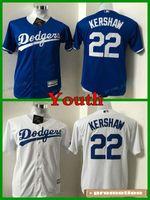 Wholesale Cheap Kershaw - 2017 Youth Los Angeles Dodgers Baseball Jersey Cool Base 22 Clayton Kershaw Kids Stitched Jerseys Boys Blue White Cheap LA Dodgers Jersey