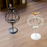 Wholesale Mosaic Candle Holders For Weddings - Birdcage Shaped Candlestick Hanging Mosaic Candle Holder Vintage Style Unity Candle Holders Lantern For Party  Wedding Home Decoration