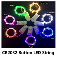 Wholesale copper cell - LED Copper Wire String Lights CR2032 Button Cell Battery Rice String Light 2M 20LED Fairy Light for Christmas Wedding Decoration