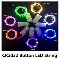arroz led al por mayor-Luces de cadena de alambre de cobre LED CR2032 Batería de celda de botón Luz de cadena de arroz 2M 20LED Luz de hadas para decoración de bodas de Navidad