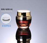 kosmetikpakete jar gold groihandel-300 teile / los Neueste 50g 50 ml Hochwertigem Glas Cremetiegel Rot mit Goldfarbe Für Kosmetische Verpackung FWR03