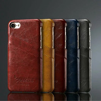 Wholesale Business Style Luxury Leather Case For Apple Iphone S inch Fashion Wallet Card Holder Wax Phone Pouch Cover For Iphone7 plus