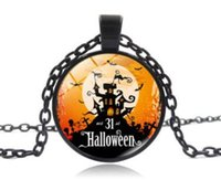 Wholesale Necklace Full Moon - New Fashion Black Halloween Bat necklace Full Moon pendant Necklace pendant Steampunk Glass Cabochon Necklace Halloween Christmas gift AA471