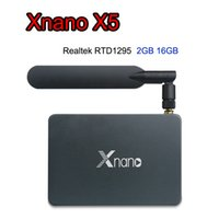 Wholesale Dvr Usb Tv - Xnano X5 Android 6.0 Smart TV Box with SATA USB 3.0 DVR 2.4G 5.8G AC Wifi RTD1295 Quad-Core DDR4 2GB 16GB Dolby DTS HD Media Player BT4.0