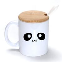 Wholesale Eye Mug - Panda eyes Mug Coffee Milk Ceramic Cup Creative DIY Gifts Mugs 11oz With Bamboo cover lid Spoon S069
