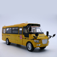 Wholesale Model Toys Buses - Diecast Bus Model, 22Cm Length Metal Toy, Alloy Car For Boys With Gift Box Openable Doors Music Light Pull Back Function