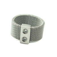 Wholesale Mesh Rings - Wire Mesh Ring with Rhinestone Jewelry 2 Crystal Embedded Stainless Steel Mesh Girls Finger Rings Silver Color for Party Band Rings