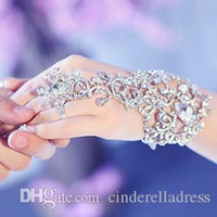 Wholesale White Dancing Gloves - In Stock Sparking Fingerless Crystal Flower Bridal Hand Chain Women Dancing Hand Bracelet & Bangles Jewelry Bridal Glove Wedding Accessorie