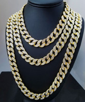 Wholesale miami cuban chain silver resale online - Whosale Inch Inch Inch Inch Inch Inch Inch Inch Iced Out Rhinestone Gold Silver Miami Cuban Link Chain Men Hiphop Necklace