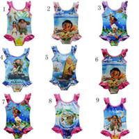 Wholesale Yellow Baby Swimsuit - Moana Girls One-Pieces Swimsuit 2017 New BABY cartoon Swimwear Moana printing Bikini swimwear 9 Styles