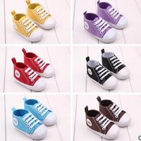 Wholesale Wholesale Toddler Canvas Shoes - Baby Boys Girls soft Sneakers Babies Non-slip toddler shoes Kids Canvas first walker shoes 10 Pairs Free Shipping