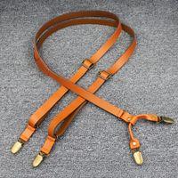 Wholesale Men Braces Suspender - genuine leather men 1.7width four clips suspenders brace