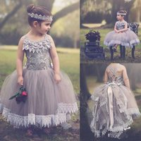 Wholesale Grey Skirt Wear - Newest Grey Ball Gown Flower Girl Dresses 2018 Jewel Sleeveless Lace Tulle Skirt Girls Pageant Gown Christmas First Communion Formal Wear