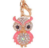 Wholesale Owl Ring Holder - Lovely Rhinestone Alloy Owl Keychain Car Keys Holder Ring Jewelry Bag Pendant Charm Keyrings Fashion Jewelry Gift