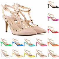 Wholesale beige dance shoes - 2017 Designer Women High Heels Rivets Girls Sexy Pointed Dance Shoes Wedding Shoes Double Straps Sandals Party Fashion