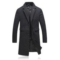 Wholesale Men S Woollen Coats - Wholesale- 2016 new style winter Men's fashion leisure Men' s thick Trench coat woollen overcoat man with thick coat jacket size M-4XL