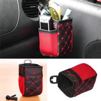 Wholesale Mobile Holder Hangs - Auto Car net Storage bag Mobile Phone car Organizer hanging Bag Holder Accessory 6.5*7*12cm Free Shipping