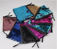 Wholesale Wholesale Designer Clutches - 2017 new Sequins Clutch Bag Mermaid Sequin Purse Mermaid Makeup Bags Cosmetic Bag Glitter Sequins Coin Bags Fashion Handbags Designer Pouch