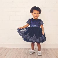 Wholesale Sexy Child Clothing - Pretty Baby Girls Dresses Summer Children Clothing Sexy Child Princess Dress Pleated Bow Flower Lace Skirt Kids Clothes