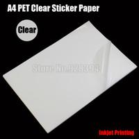 Wholesale Adhesive Printer - Wholesale- 2016 25pcs A4 Clear Transparent PET Film Adhesive Paper Sticker Paper Waterproof Fit Inkjet Printer cip00