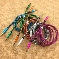 Wholesale High Quality mm Auxiliary AUX Extension Audio m ft Cable Unbroken Metal Fabric Braide Male Stereo cord for iphone Samsung MP3 Speaker