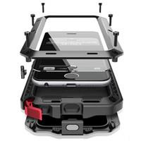 Wholesale Blackberry Aluminum Case - Luxury doom armor Dirt Shock Waterproof Metal Aluminum For samsung S8 S8 plus iphone 8 7plus case + Tempered glass waterproof case