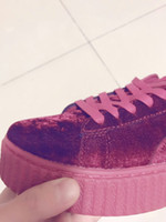 special toes - Rihanna x Suede New Color Velvet Creepers size special price Grey Red Black Women Men Fashion cheap Casual Shoes sneakers