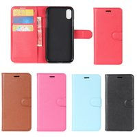 Wholesale I Phone Light - For I phone 8 Litchee Pattern Leather Cover Case Support Standholder Card Slot Pocket Free DHL