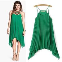 Wholesale Pleated Skirt Irregular - 1PCS 2017 Fashion Three Color Pleated Chiffon Dress, Irregular Skirt