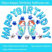 Wholesale Little Mermaid Princess Toys - free shipping foil Ariel balloons princess little mermaid balloons 25pcs set happy birthday balloons letter for party supplies