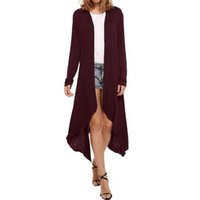 Wholesale Trench Femme - Women Fashion Long Trench 7 Colors Autumn Winter Overcoat British Style Tuxedo Manteau Femme Coats Casual Simple Open Stitch XXL W880411