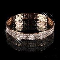 pulseiras árabes venda por atacado-Luxo Banhado A Ouro Bridal Bracelet Bling Bling 3 Linha Strass Pulseira Trecho Árabe Mulheres Prom Evening Partido Jóias Acessórios De Noiva