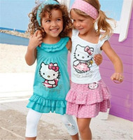 Wholesale Boys Dress Clothes 3pcs - Wholesale- 2-8Yrs Summer Hello Kitty Baby Girl Suits Girls Cotton 3Pcs Sets Headband+Dress+Pants Children Clothing Set Kids Fashion Set 10F