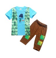 Wholesale Child Pyjamas - 2018 Trolls Boys Pajamas Sets Boys Summer Pyjamas Kids Summer Cotton Sleepwear for 4-10 Years Children